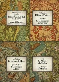 """MICROMONDI serie I - Arti ovvero tre volumi con racconti brevi su Pittura - Musica - Danza """"I ritratti profetici"""", N. Hawthorne; """"La tentazione di Harringay"""", H.G. Wells; """"La musica sulla collina"""", Saki; """"Il Miserere"""", G.A. Béquer; """"La danza della morte"""", A. Blackwood; """"Il ballerino"""", Jerome K. Jerome."""