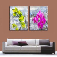 hand painted modern orchid oil painting flowers 2 piece ...