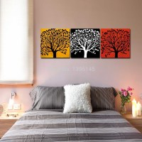 frameless painting modern three colors tree yellow black