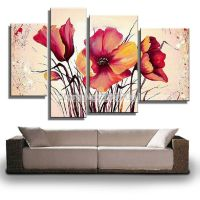 hand painted abstract wall art decor flower picture 3 ...