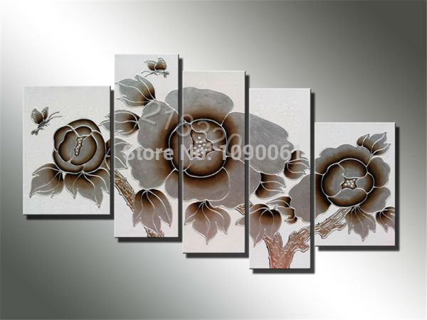 hand painted abstract paintings of flowers butterfly wall