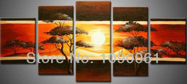 handmade abstract beautiful trees scenery sunset paintings