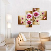 hand painted canvas oil picture wall art painting pink ...