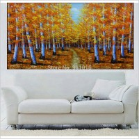 hand painted wall landscape birch forest picture on canvas ...