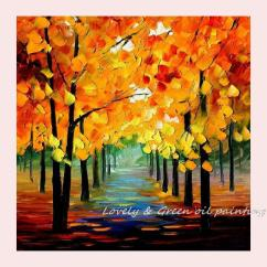 3 Piece Living Room Set Under 500 Wall Light Fixtures Hand Painted Art Autumn Tree Road Oil Painting ...
