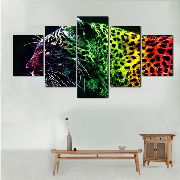 5 piece picture sell abstract leopard modern home wall