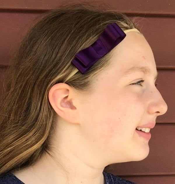 dark purple hair bow