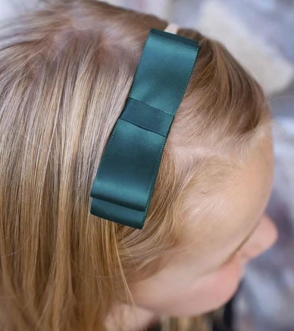 hunter green bow for baby girl