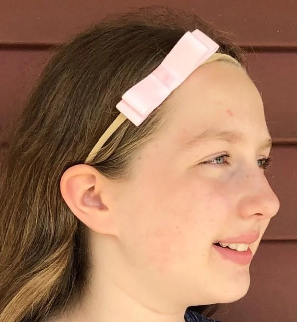 light pink bow headband