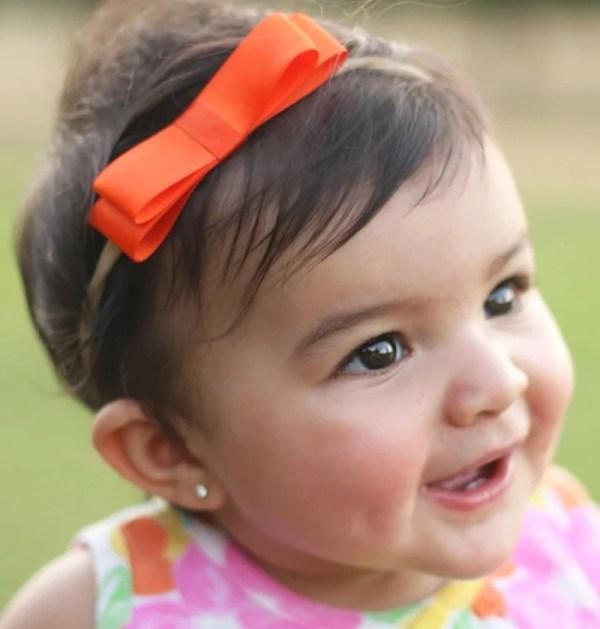 orange headband bow for baby
