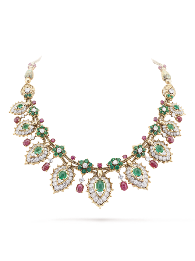 Van Cleef & Arpels necklace with Emerald, Ruby and Diamond inspired by dream-like Indian.