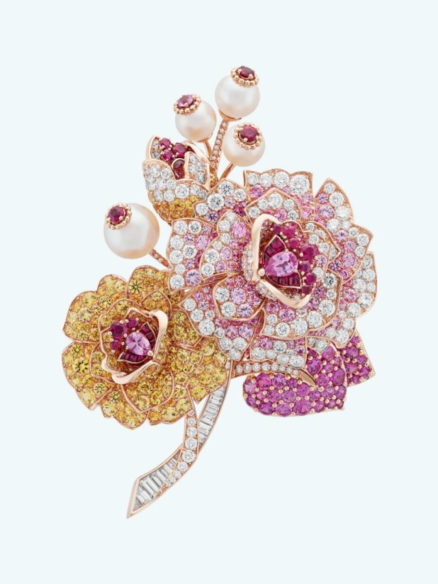 Rose gold, pink and yellow sapphires, rubies, white cultured pearls, diamonds