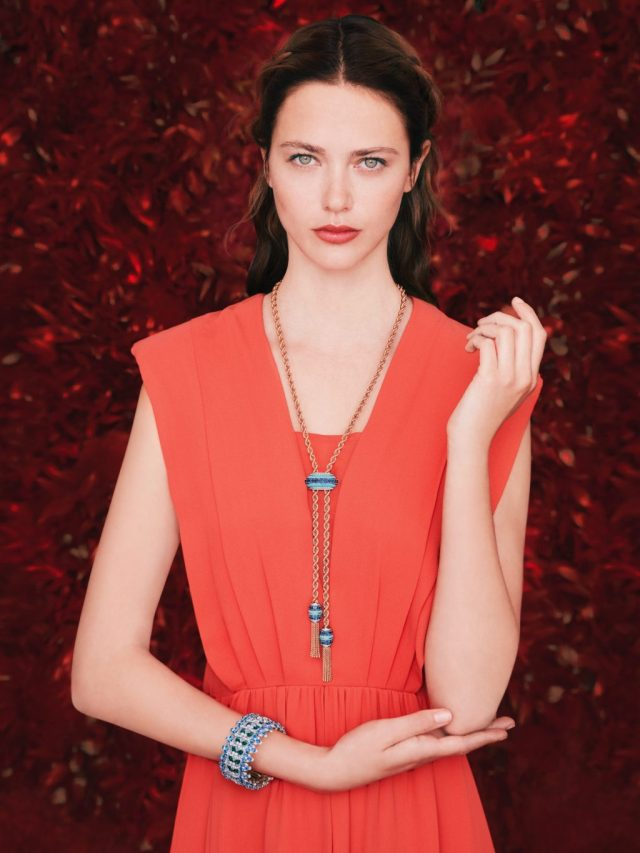 Liane long necklace, rose gold, rubies, coral, diamonds