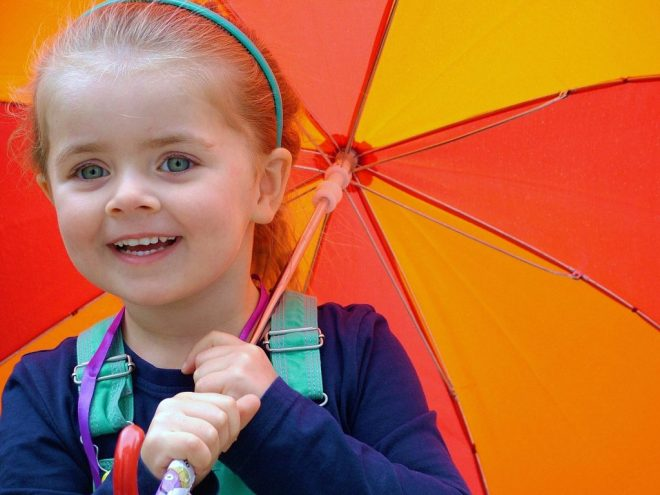 umbrella rainy kids