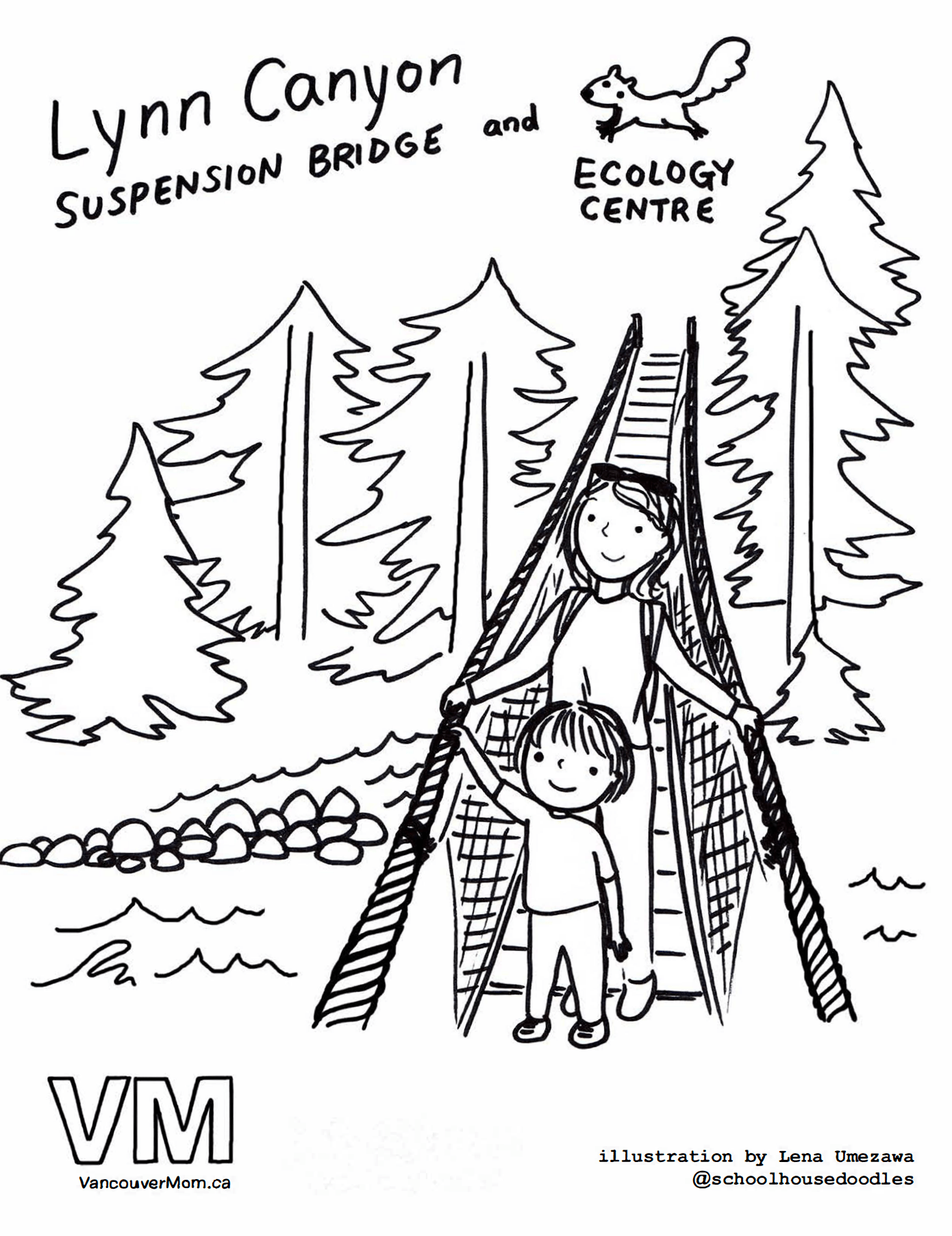 Colouring books for adults vancouver - Lynn Canyon Suspension Bridge And Ecology Centre North Vancouver Colouring Page