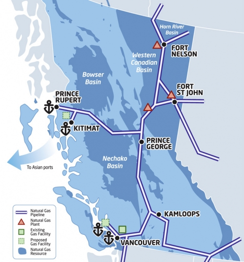 BC gov't map of LNG pipelines