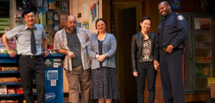 The cast of Kim's Convenience on stage at the Arts Club Granville Island Stage through May 24. Photo by Bruce Monk.