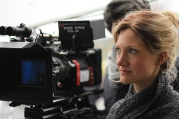 Bennett on the set of Preggoland