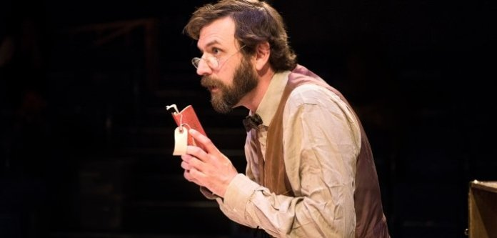 Nathan Schmidt as the Librarian in Underneath the Lintel. Photo by Emily Cooper.