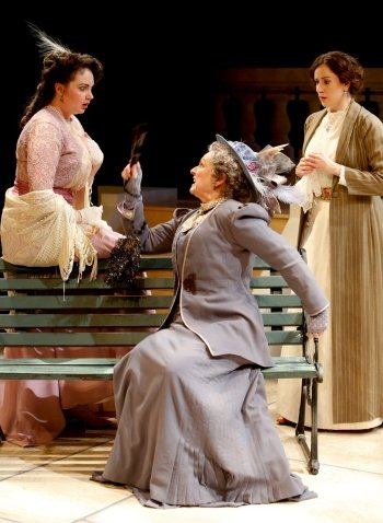 Gabrielle Rose (center) as malapropist Mrs Malaprop with Emma Slipp (left) and Luisa Jojic. Photo by Tim Matheson.