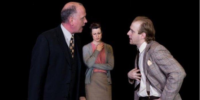 Francis Boyle, Tara Pratt and Eric Regimbald in the Aenigma Theatre production of Copenhagen.