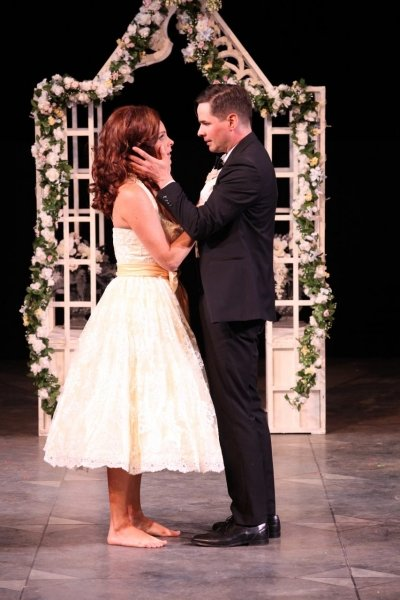 Amber Lewis and Kevin MacDonald as Beatrice and Benedick. Photo by David Blue.
