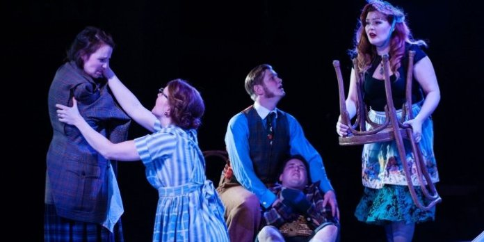 Paige Fraser as Gladys, Mallory James as Mrs. Antrobus, William Edward as Mr. Antrobus, Dan Swain as Henry and Erin Palm as Sabina in the Studio 58 production of The Skin of Our Teeth. Photo by Ross den Otter.