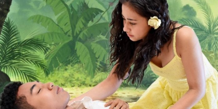Michael Gnansounou as Daniel and Brianna Clark as Ti Moune in the Fabulist Theatre production of Once On This Island.