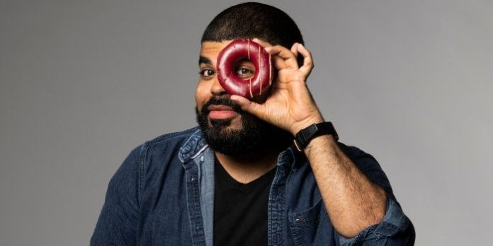 Chris Francisque as Franco Wicks in the Ensemble Theatre Company production of Superior Donuts. Photo by Emily Cooper.