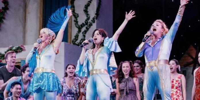 Lori Ashton Zondag, Caitriona Murphy and Sheryl Anne Wheaton in the Theatre Under the Stars production of Mamma Mia! Photo by Lindsay Elliott.