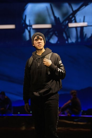 Alen Dominguez in the Electric Company Theatre production of Anywhere But Here. Photo by Emily Cooper.