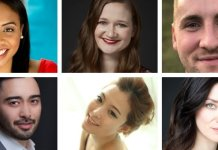 Jonelle Sills, Amanda Weatherall, Ian Cleary, Luka Kawabata, Amy Seulky Lee and Dana Fradkin are this year's participants in Vancouver Opera's Yulanda M. Faris Young Artists Program.