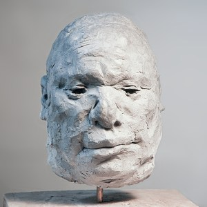 portrait head clay sculpture of middle-aged man
