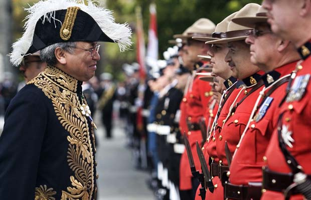 Lt.-Gov. Steven Point  reviews the Guard of Honour after installation ceremonies at the BC Legislature in 2007.