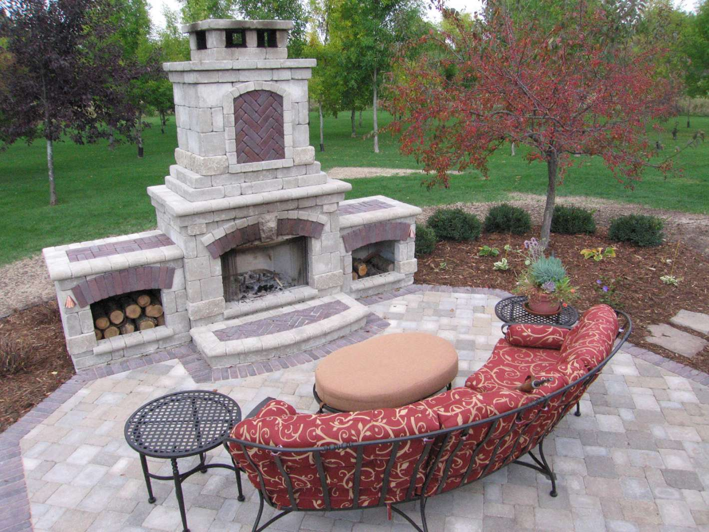Outdoor Fireplace Landscaping Design in Appleton WI