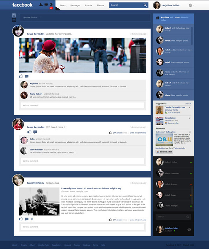 30 Inspiring Facebook News Feed Redesign Concepts Worth