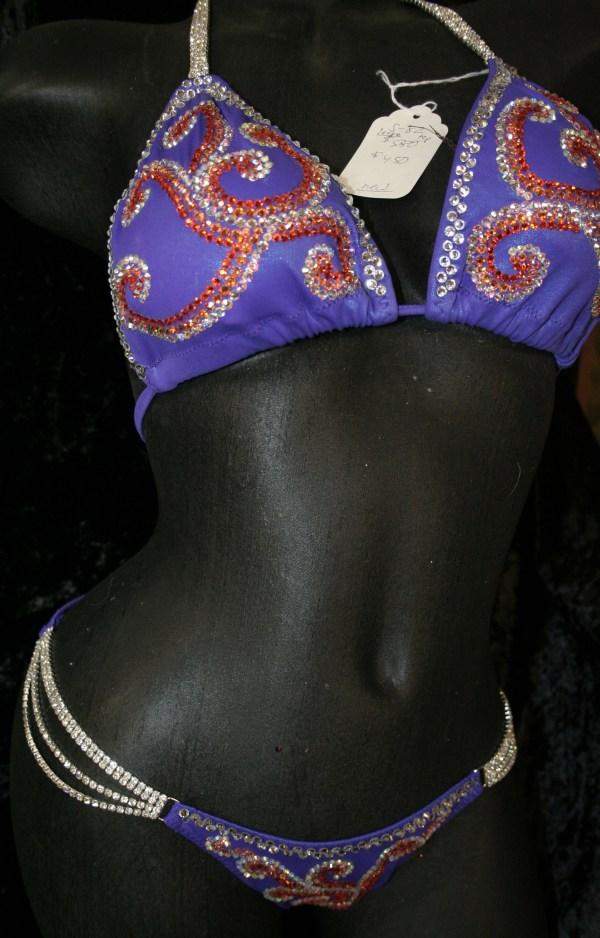 Style 1039 Purple Competition Bikini With Rhinestone