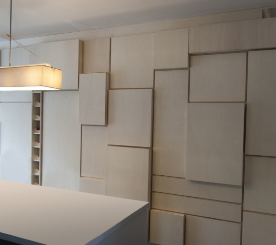 Modulaire wandkast populieren multiplex keuken en berging