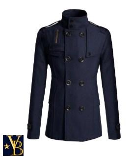 woolen coat navy Vanderbilt Bijl