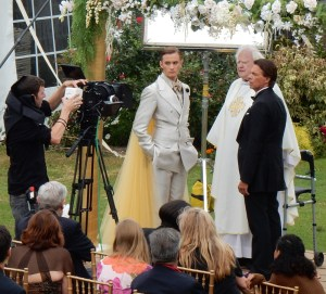"Vanderbilt Museum photos Ian Whitt (left) and Patrick Askin prepare for the wedding scene in ""Nick and Nicky"""