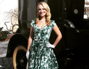 Vanderbilt Museum photo Consuelo Vanderbilt Costin and her great-great grandfather's 1929 Lincoln, during a break in shooting a 2015 music video at the Vanderbilt Mansion