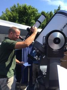 Dave Bush, Planetarium technical coordinator and an astronomy educator, keeps an eye on the Sun Vanderbilt Museum photo.