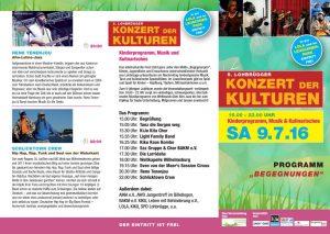 Programm des Konzertes der Kulturen