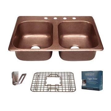 copper sink kitchen shelf sinks fireclay van dykes restorers sinkology raphael 33 inch double drop in kit