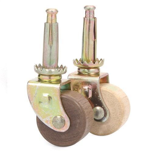 Wooden Wheel Steel Stem Caster  Van Dykes Restorers