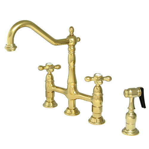 antique kitchen faucets off white cabinets bridge deck mount van dykes restorers faucet with brass sprayer