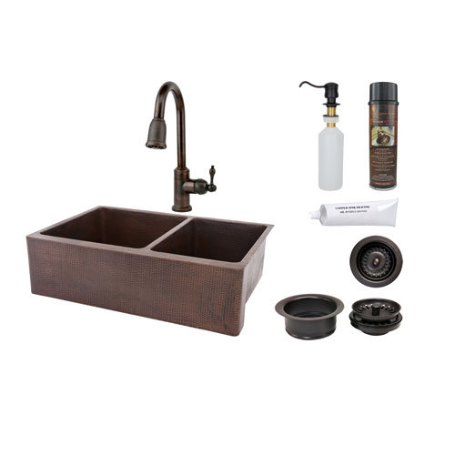 60 40 kitchen sink clock premier copper 33 inch apron double bowl faucet package