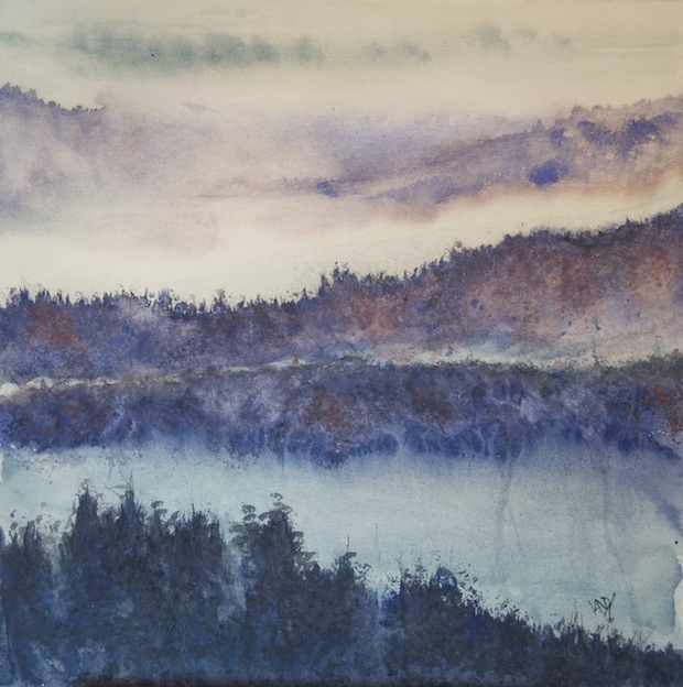 Rhine Trees in the Mist (watercolour 28 x 28 cm) Fine Art Prints