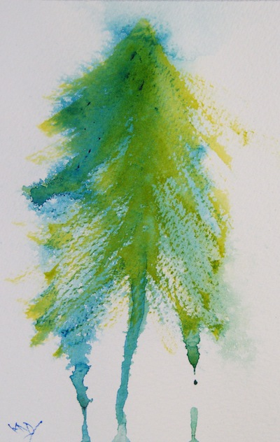 Fir (watercolour 4 x 6 inches). Artist: Vandy Massey