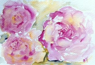 Roses in Watercolour: Three Queens (15 x 10cm)